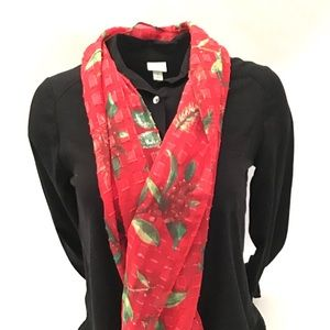 New Holiday Poinsetta Berries Fashion Scarf